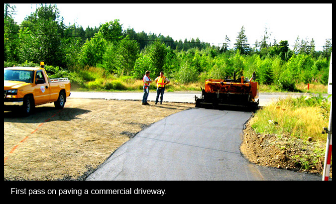 First pass on paving a commercial driveway.