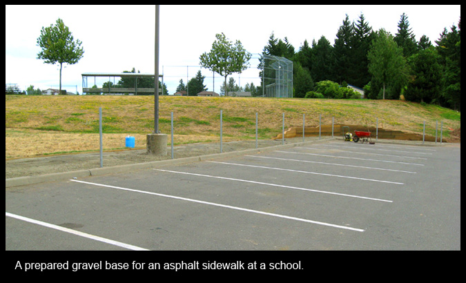 A prepared gravel base for an asphalt sidewalk at a school.