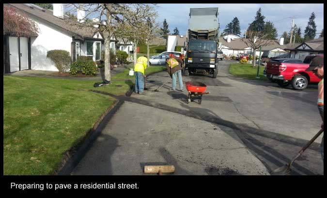 Preparing to pave a residential street.